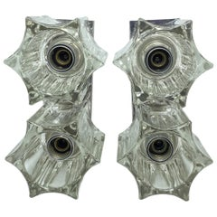 Pair of 2-Light Starburst Glass Chrome Base Sconces, 1960s