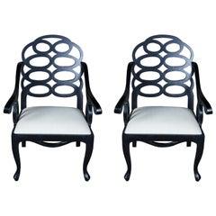Pair of 2 Midcentury Black Caesar Armchairs Modern Geometric Chinoiserie