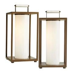 Pair of 2 Outdoor Lanterns, Aged Brass Frame/60-Watt Light Bulb