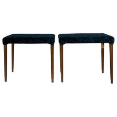 Pair of 2 Solid Mahogany Side Chair, Stool, Made in Denmark, 1950s