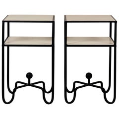 Pair of 2-Tier Entretoise Side Tables by Design Frères