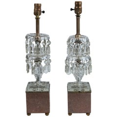 Pair of 2-Tier Glass Drop Beside Lamps