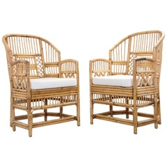 Pair of 2 Vintage Chinese Chippendale/Brighton Pavilion Rattan Chairs