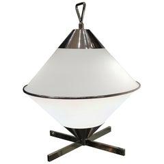 Pair of 2000s Design Opaline and Chromium Table Lamp