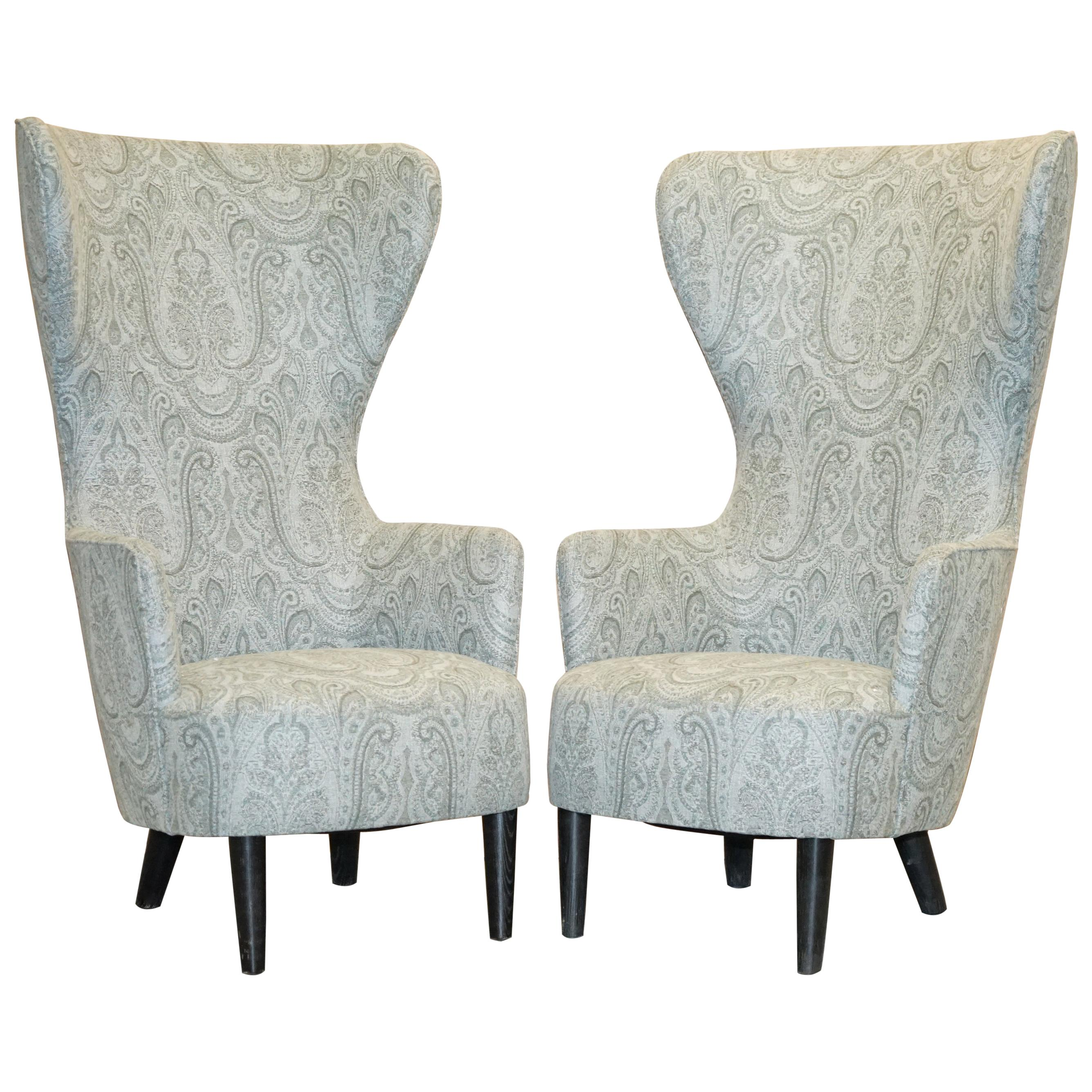 Pair of 2007 Restored George Smith Tom Dixon Wing Back Armchairs