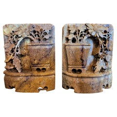 Pair of 20C Chinese Soapstone Carved Bookends
