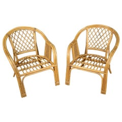 Pair of 20th Century Wicker and Cane Italian Armchairs, 1960