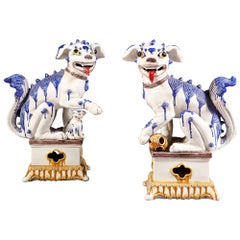 Pair of French Pottery Dogs of Fo in Blue and White Glaze, Probably Samson