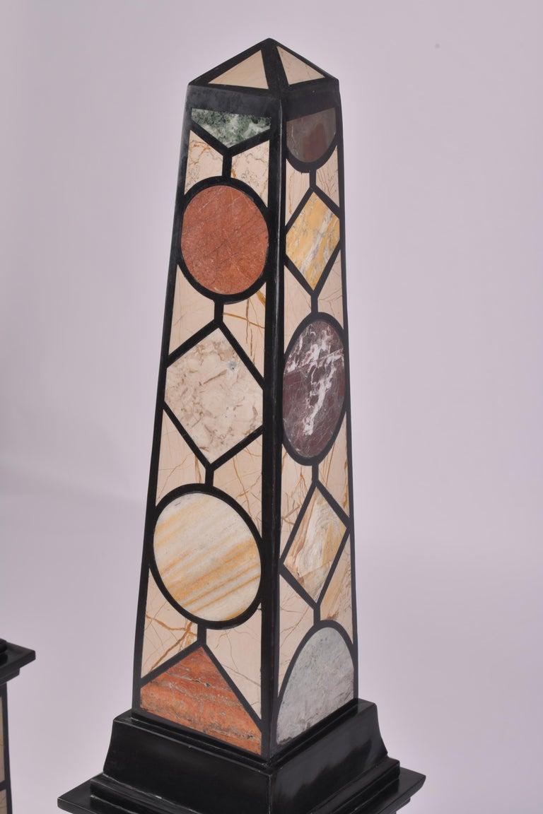 Pair of 20th Century Marble Specimen Obelisks For Sale 7