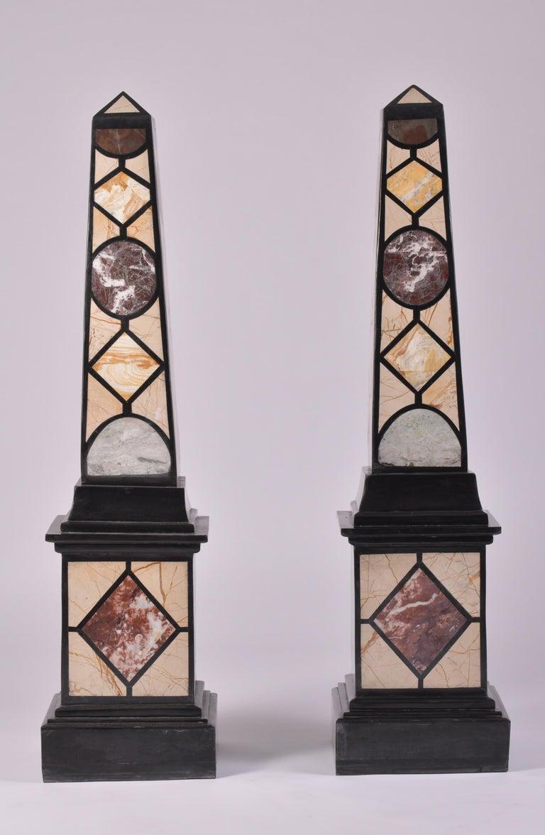 Pair of 20th Century Marble Specimen Obelisks For Sale 8
