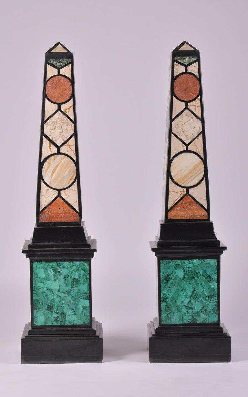 European Pair of 20th Century Marble Specimen Obelisks For Sale