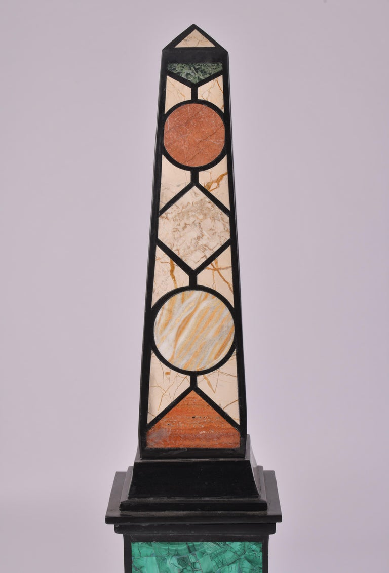 Pair of 20th Century Marble Specimen Obelisks In Good Condition For Sale In London, GB