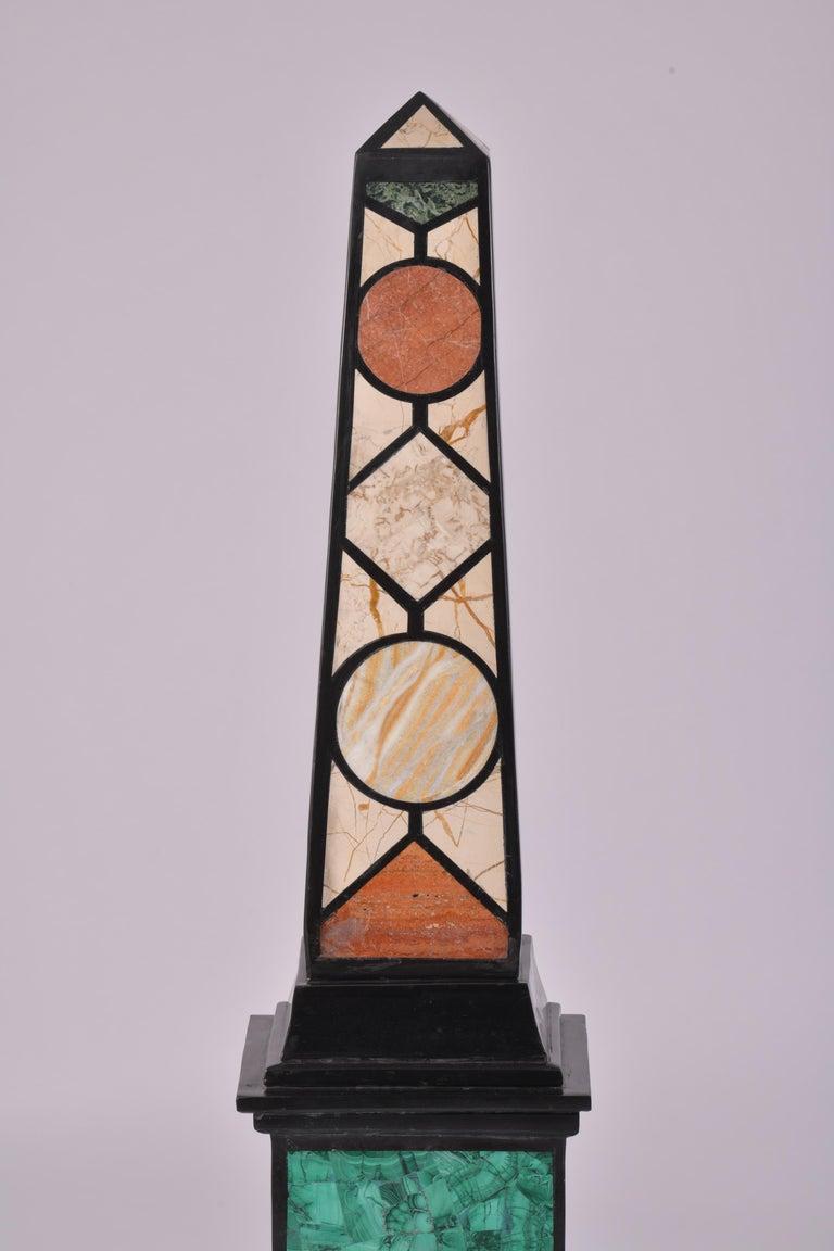 Pair of 20th Century Marble Specimen Obelisks For Sale 4