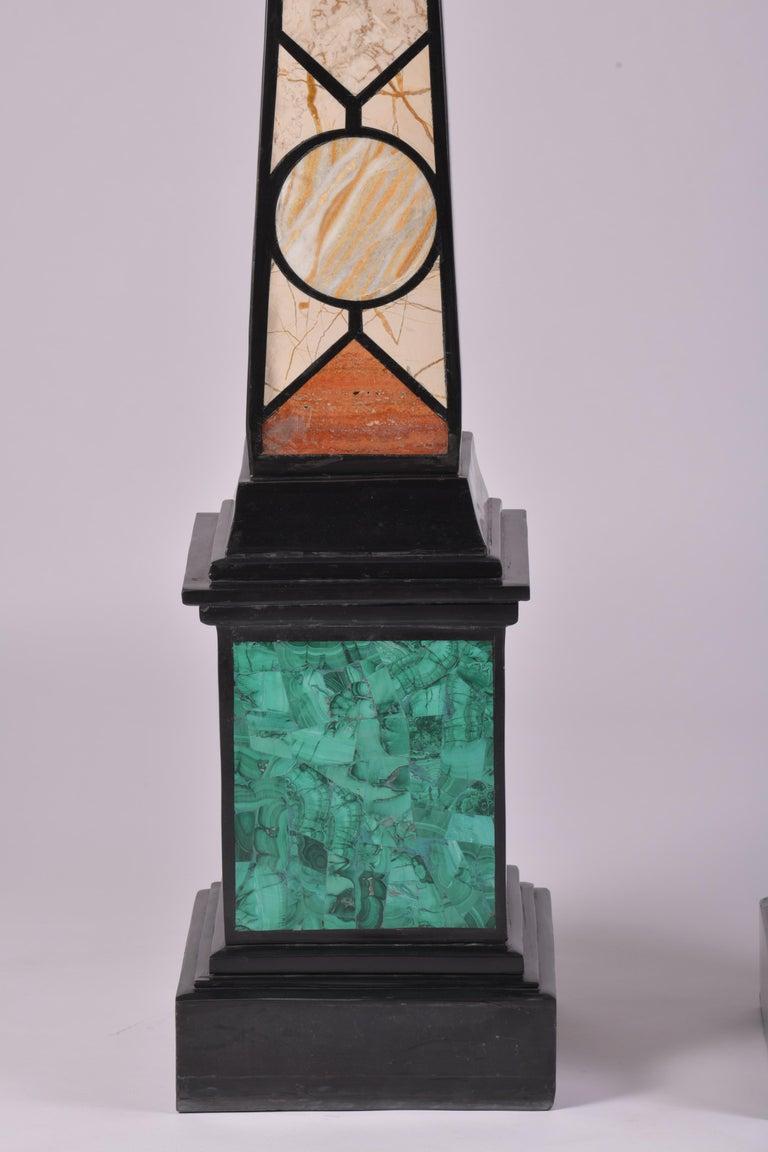 Pair of 20th Century Marble Specimen Obelisks For Sale 5