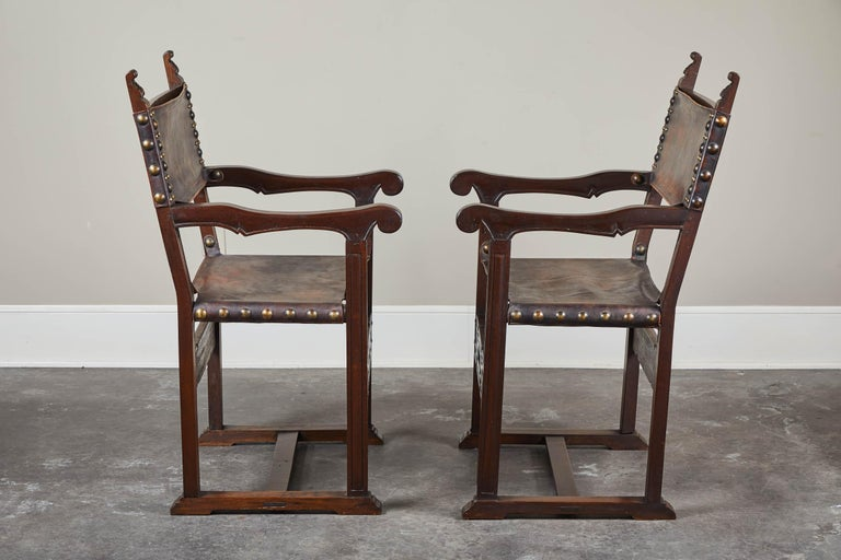 Pair of 20th Century South American Armchairs with Leather Seat and Back For Sale 1
