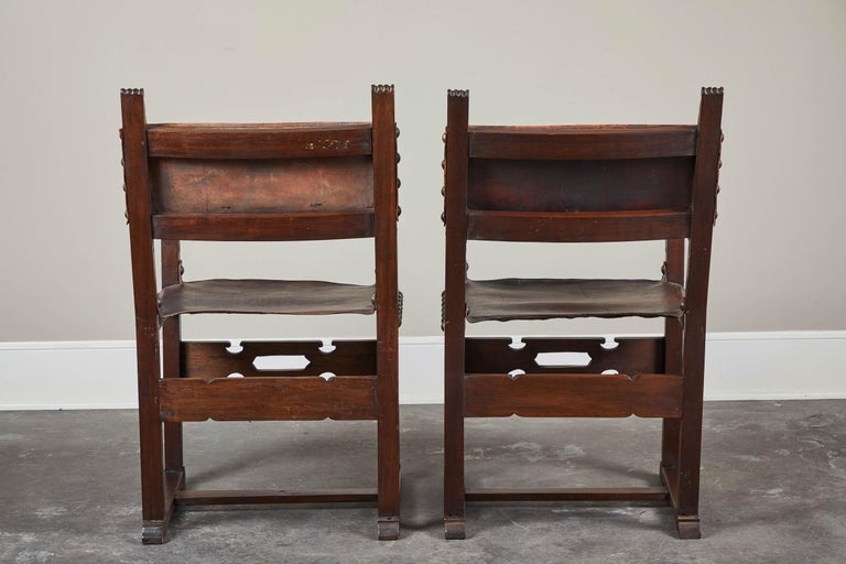 Pair of 20th Century South American Armchairs with Leather Seat and Back For Sale 2