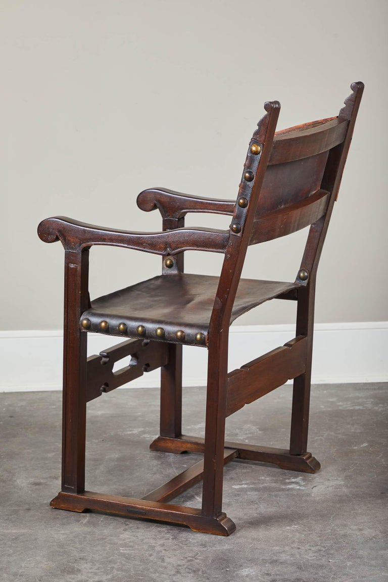 Pair of 20th Century South American Armchairs with Leather Seat and Back For Sale 3