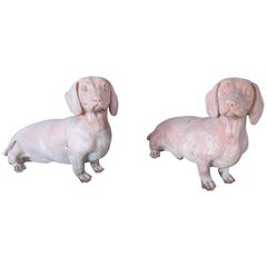 "Pair of 20th Century Hand Modeled ""Impruneta"" Garden Decoration ""Dachshund Dog"""