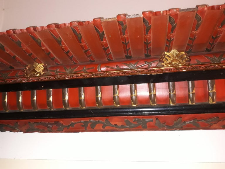 Chinoiserie Pair of 20th Cent Pagoda Roofs, China 1908, Hand Carved, Guilted, Red Lacquer For Sale