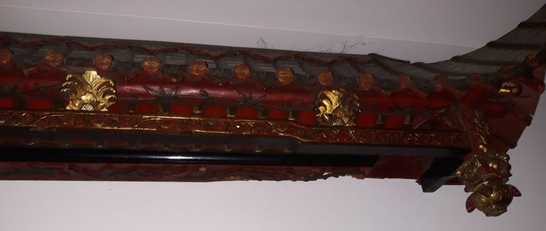 Chinese Pair of 20th Cent Pagoda Roofs, China 1908, Hand Carved, Guilted, Red Lacquer For Sale