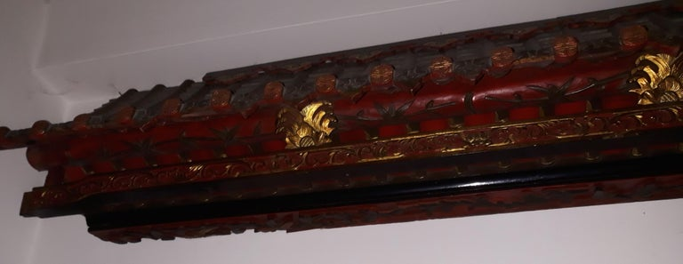 Hand-Carved Pair of 20th Cent Pagoda Roofs, China 1908, Hand Carved, Guilted, Red Lacquer For Sale
