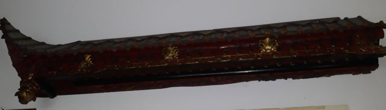 20th Century Pair of 20th Cent Pagoda Roofs, China 1908, Hand Carved, Guilted, Red Lacquer For Sale