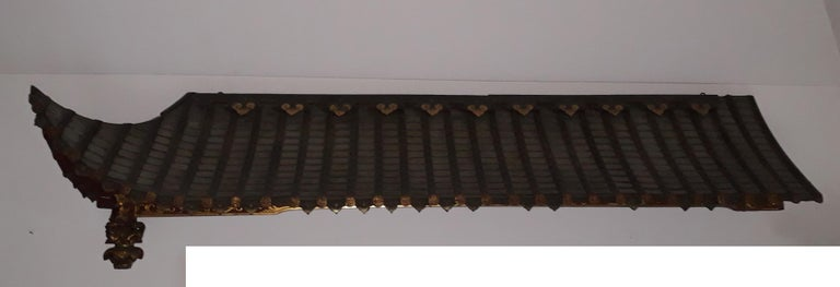 Wood Pair of 20th Cent Pagoda Roofs, China 1908, Hand Carved, Guilted, Red Lacquer For Sale