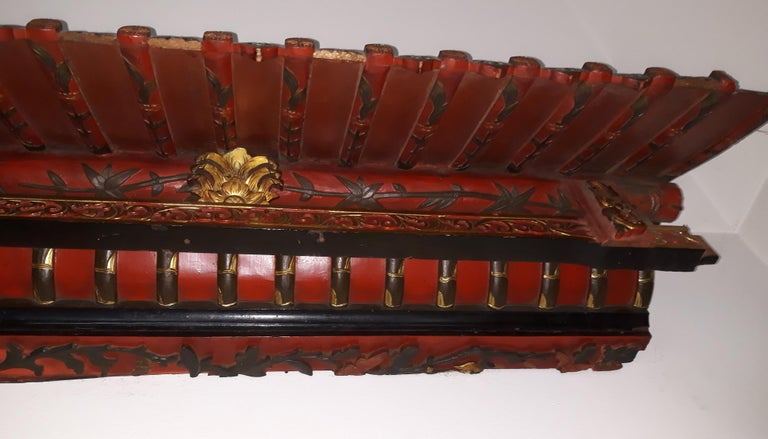 Pair of 20th Cent Pagoda Roofs, China 1908, Hand Carved, Guilted, Red Lacquer For Sale 1
