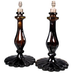 Pair of 20th Century Amber Cut-Glass Table Lamps