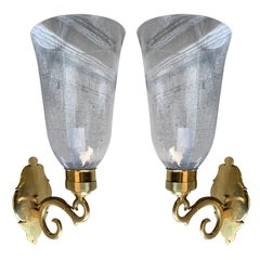 Pair of 20th Century American Brass Sconces with Hurricanes, Marked Ball & Ball