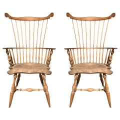 Pair of 20th Century American Fan Back Windsor Chairs with High Back