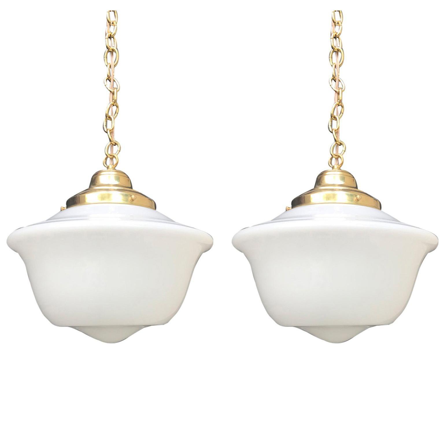 Pair of 20th Century American Milk Glass Pendant & Brass Hanging Light Fixtures