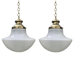 Pair of 20th Century American Milk Glass Pendant & Brass Hanging Light Fixtures