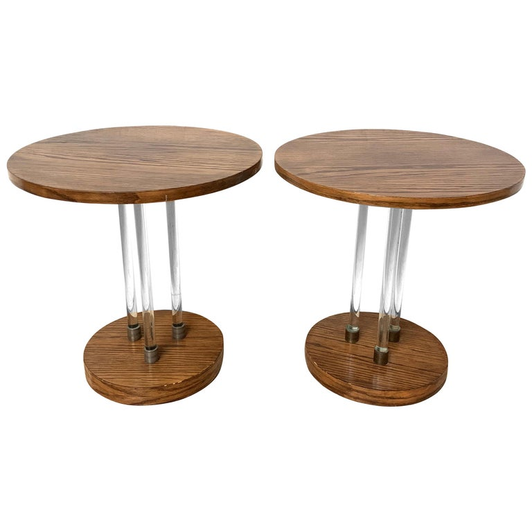 Pair of 20th Century Art Deco Oak and Glass Side or End Tables, France, 1930s For Sale