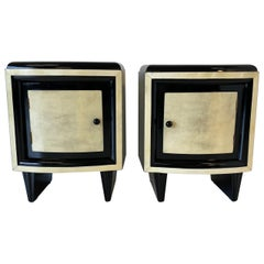 Pair of 20th Century Art Deco Parchment Bedside Tables, 1930s