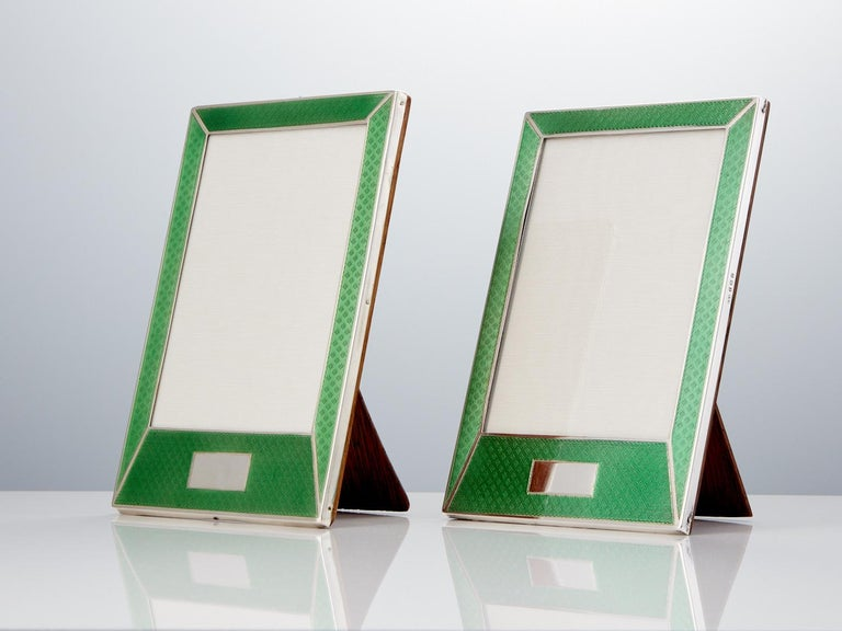 These beautiful English silver and guilloche enamel photo frames are in excellent condition and they retain their stunning translucent quality.