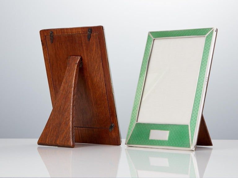 British Pair of 20th Century Art Deco Sterling Silver and Enamel Photograph Frames, 1927