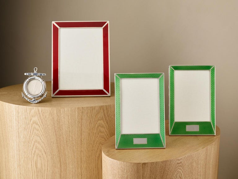 Pair of 20th Century Art Deco Sterling Silver and Enamel Photograph Frames, 1927 2
