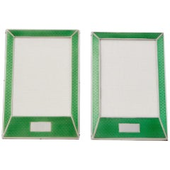 Pair of 20th Century Art Deco Sterling Silver and Enamel Photograph Frames, 1927