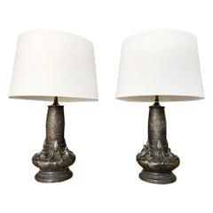 Pair of 20th Century Art Nouveau Style Bronze Table Lamps