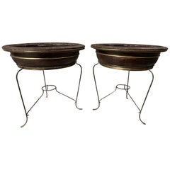 Pair of 20th Century Asian Round Wooden Planters on Custom Metal Stands