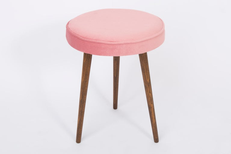 Velvet Pair of 20th Century Baby Pink Stools, 1960s For Sale