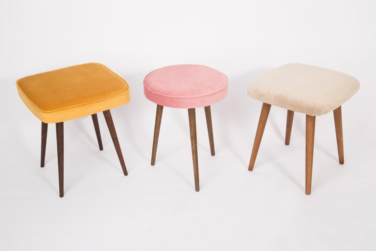 Pair of 20th Century Baby Pink Stools, 1960s For Sale 1