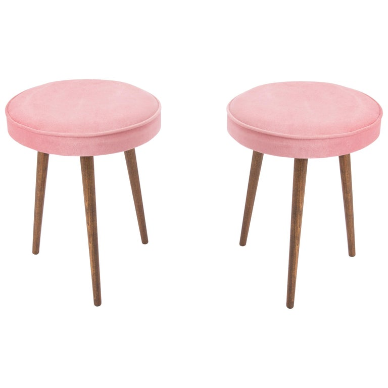 Pair of 20th Century Baby Pink Stools, 1960s For Sale