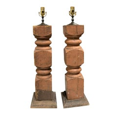 Pair of 20th Century Balustrades as Lamps with Old Finish