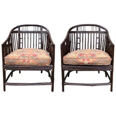 Pair of 20th Century Bamboo Barrel Chairs with Faux Tortoise Shell Finish