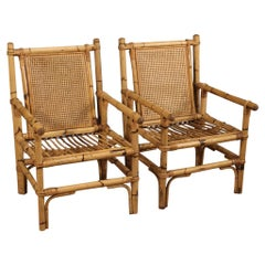 Pair of 20th Century Bamboo Wood and Cane Italian Design Armchairs, 1970