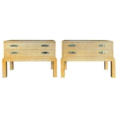 Pair of 20th Century Bielecky Brothers Style Raffia Covered Side Tables