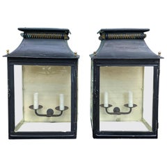 Pair of 20th Century Black Tole Wall Mount Lanterns or Carriage Lights