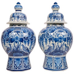 Pair of Dutch Delft Blue and White Jars